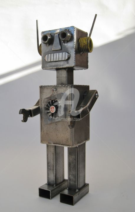 Robot 1 - Sculpture,  50x17 cm ©2014 by Arzel -                        Metal