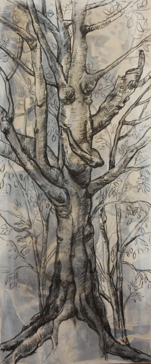 Spirit tree - Drawing,  55.1x23.6 in, ©2019 by Nathalia Chipilova (Atelier NN art store) -                                                                                                                                                                                                                                                                                                                                                                                                                                                          Figurative, figurative-594, Pulpboard, Paper, Tree, Nature, arbre, tree, leonard da vinci