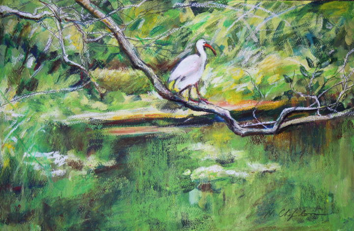 Into the wood - Painting,  12.6x19.7 in, ©2019 by Nathalia Chipilova (Atelier NN art store) -                                                                                                                                                                                                                                                                                                                                                                                                                                                                                                  Figurative, figurative-594, Tree, Nature, Landscape, wood, forêt, heron, forest, bois