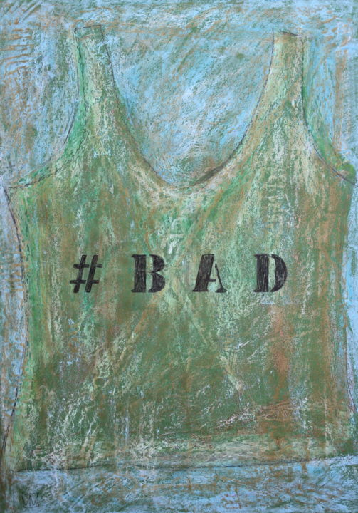 #Bad Undershirt - Painting,  27.6x19.7 in, ©2019 by Nathalia Chipilova (Atelier NN art store) -                                                                                                                                                                                                                                                                                                              Conceptual Art, conceptual-art-579, undershirt, marcel, bad, debardeur