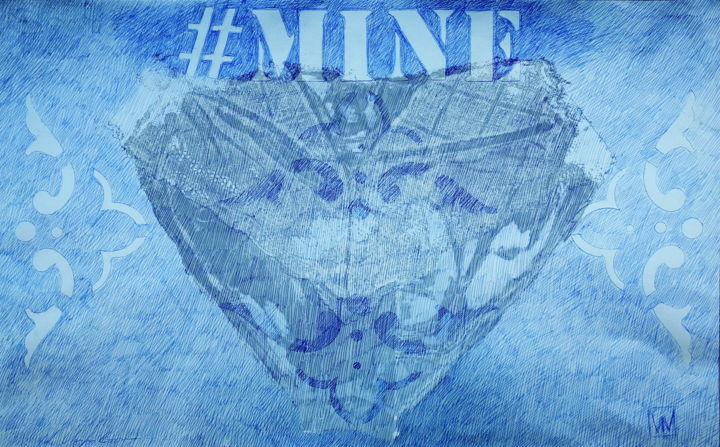 #Mine - Painting,  12.6x19.7 in, ©2019 by Nathalia Chipilova (Atelier NN art store) -                                                                                                                                                                                                                                                                                                                                                                                                                                                                                                  Conceptual Art, conceptual-art-579, Pop Culture / celebrity, World Culture, Fashion, mine, culotte, metoo, panties, breeches
