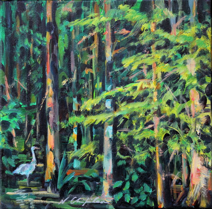 Into the wood - Painting,  11.8x11.8 in, ©2019 by Nathalia Chipilova (Atelier NN art store) -                                                                                                                                                                                                                                                                                                                                                                                                                                                                                                  Impressionism, impressionism-603, Tree, Nature, Birds, Landscape, wood, forest, forêt, nature