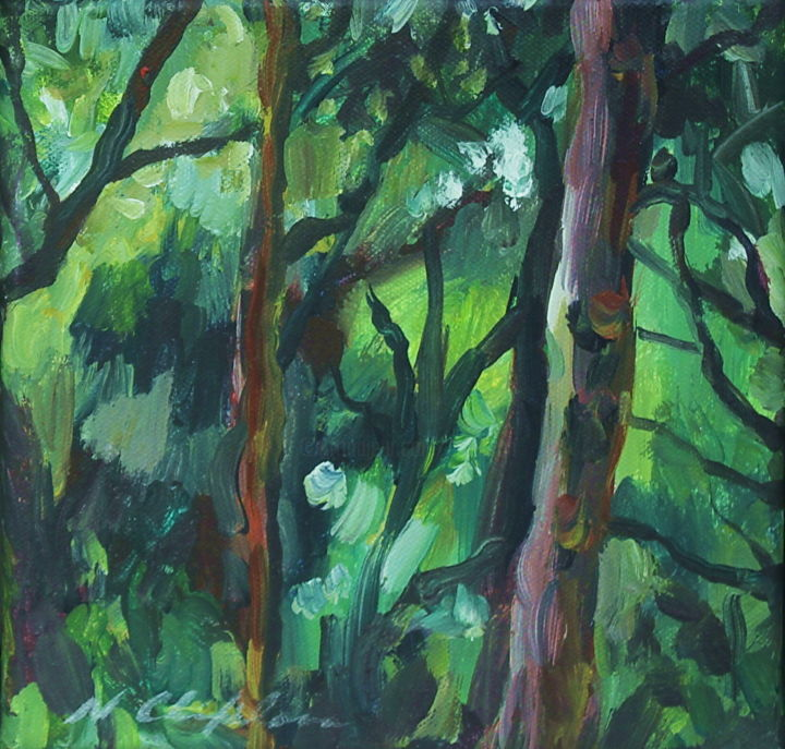 Into the wood 2 - Painting,  7.9x7.9x0.6 in, ©2019 by Nathalia Chipilova (Atelier NN art store) -                                                                                                                                                                                                                                                                                                                                                                                                                                                      Impressionism, impressionism-603, Tree, Nature, Landscape, forêt, forest, wood, bois