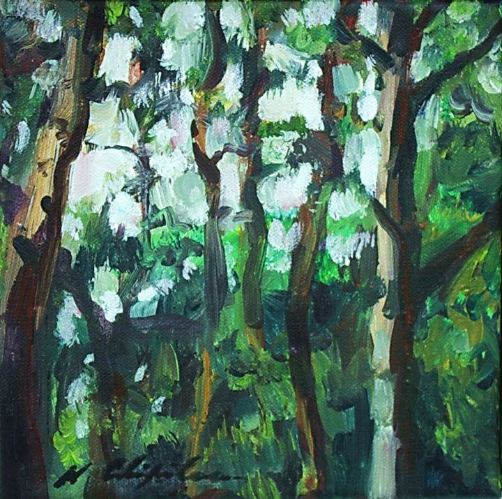 Into the wood 3 - Painting,  7.9x7.9 in, ©2019 by Nathalia Chipilova (Atelier NN art store) -                                                                                                                                                                                                                                                                                                                                                                                                                                                                                                                                              Impressionism, impressionism-603, Tree, Nature, Landscape, bois, forest, forêt, arbres, trees, tree