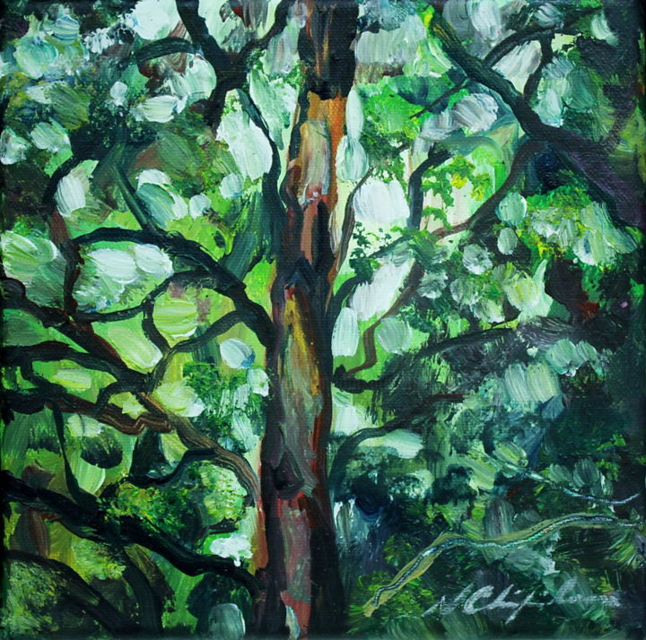 Into the wood 1 - Painting,  7.9x7.9 in, ©2019 by Nathalia Chipilova (Atelier NN art store) -                                                                                                                                                                                                                                                                                                                                                                                                                                                                                                                                                                                                                                      Impressionism, impressionism-603, Tree, Nature, Landscape, forest, landscape, wood, bois, forêt, arbres, tree, trees