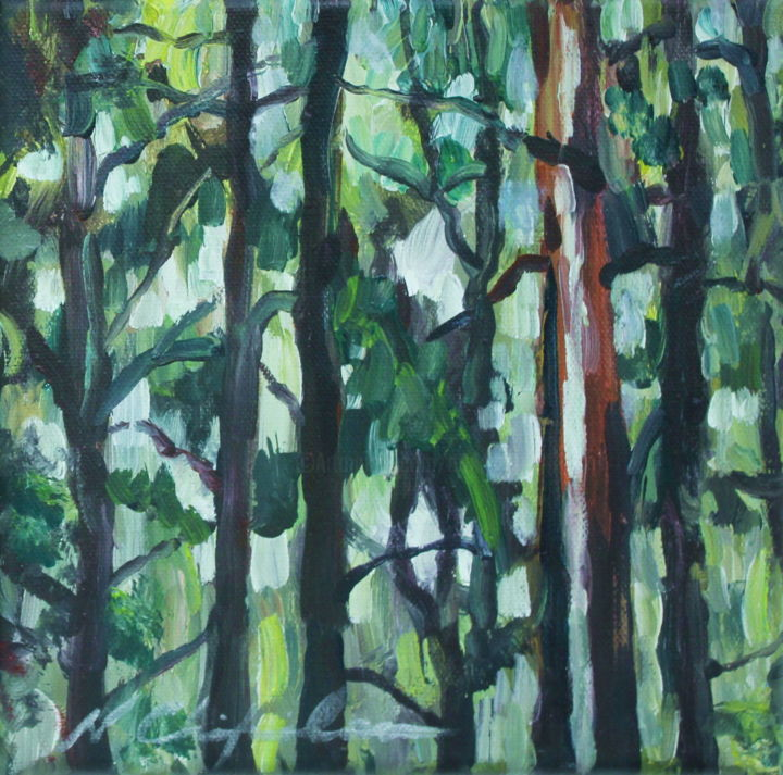 Into the wood 4 - Painting,  7.9x7.9 in, ©2019 by Nathalia Chipilova (Atelier NN art store) -                                                                                                                                                                                                                                                                                                                                                                                                                                                                                                                                                                                          Impressionism, impressionism-603, Tree, Nature, Landscape, forest, wood, bois, forêt, arbre, tree, trees