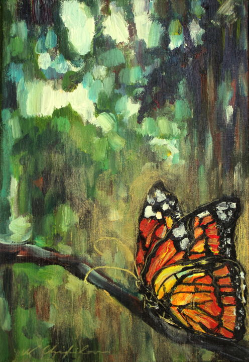 Into the wood, butterfly - Painting,  13.8x9.5 in, ©2020 by Nathalia Chipilova (Atelier NN art store) -                                                                                                                                                                                                                                                                                                                                                                                                                                                                                                                                                                                                                                      Impressionism, impressionism-603, Animals, Tree, Botanic, Nature, Landscape, papillon, butterfly, forest, bois, forêt, monarque