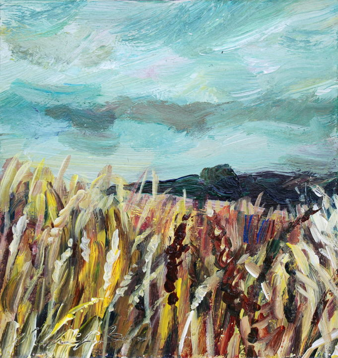 Daily Champ de blé 1 20/01/09 - Painting,  5.5x5.5 in, ©2020 by Nathalia Chipilova (Atelier NN art store) -                                                                                                                                                                                                                                                                                                                                                                                                                                                                                                                                              Impressionism, impressionism-603, Botanic, Nature, Landscape, Mountainscape, champ, blé, Wheat field, yellow, jaune