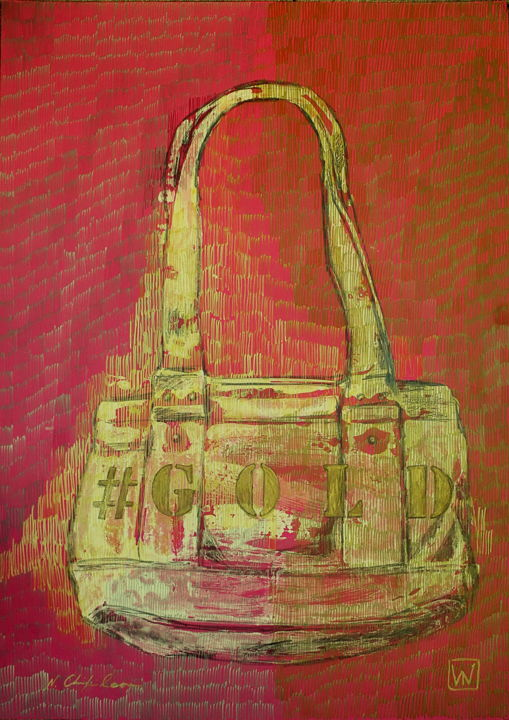 Bag Guess Gold 1 - Drawing,  27.6x19.7 in, ©2019 by Nathalia Chipilova (Atelier NN art store) -                                                                                                                                                                                                                                                                                                                                                                                                                                                                                                                                                                                                                                      Pop Art, pop-art-615, Culture, World Culture, Women, Fashion, Still life, bag, guess, gold, or, sac, mode