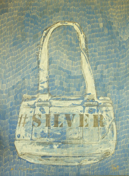 Bag Guess Silver 1 - Drawing,  27.6x19.7 in, ©2019 by Nathalia Chipilova (Atelier NN art store) -                                                                                                                                                                                                                                                                                                                                                                                                                                                                                                                                                                                          Conceptual Art, conceptual-art-579, Culture, Pop Culture / celebrity, Women, Fashion, Still life, bag, guess, silver, sac, argent