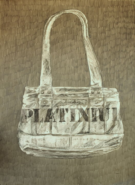 Bag Guess #Platinium 1 - Drawing,  27.6x19.7x0.4 in, ©2019 by Nath Chipilova (Atelier NN art store) -                                                                                                                                                                                                                                                                                                                                                                                                                                                                                                                                              Conceptual Art, conceptual-art-579, Culture, artwork_cat.Pop Culture / Celebrity, Women, Fashion, Still life, bag, guess, sac, platinium