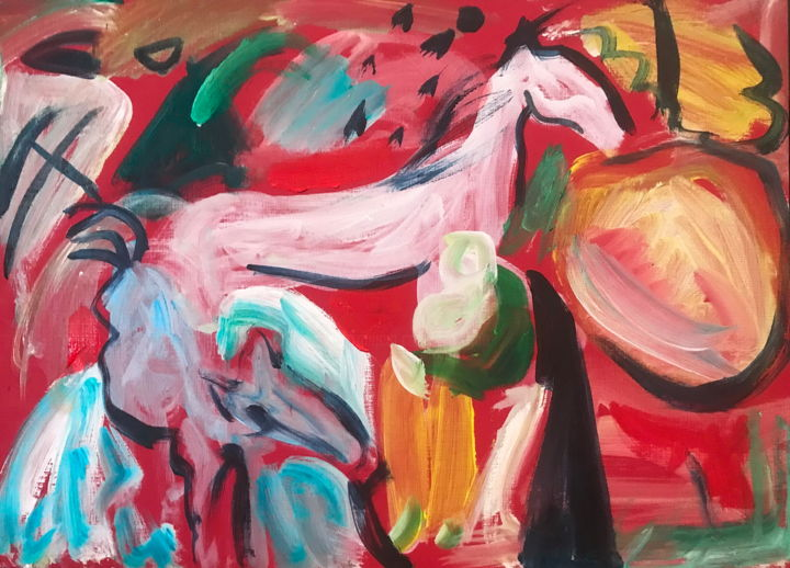 Inspiration Kandinsky 3 - Painting,  11.4x15.8 in, ©2020 by Nathalia Chipilova (Atelier NN art store) -                                                                                                                                                                                                                                                                                                                                                                                                                                                                                                                                                                                                                                      Expressionism, expressionism-591, Animals, Horses, Nature, Landscape, kandinsky, white, horse, cheval, blanc, expressionisme abstrait, abstract expressionism