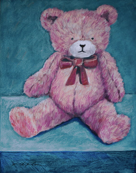 Doudou ours rose 1 - Painting,  25.6x19.7 in, ©2019 by Nathalia Chipilova (Atelier NN art store) -                                                                                                                                                                                                                                                                                                                                                                                                                                                                                                                                                                                          Figurative, figurative-594, Animals, Culture, Pop Culture / celebrity, Nature, Still life, doudou, ours en péluche, teddy bear, ours, rose
