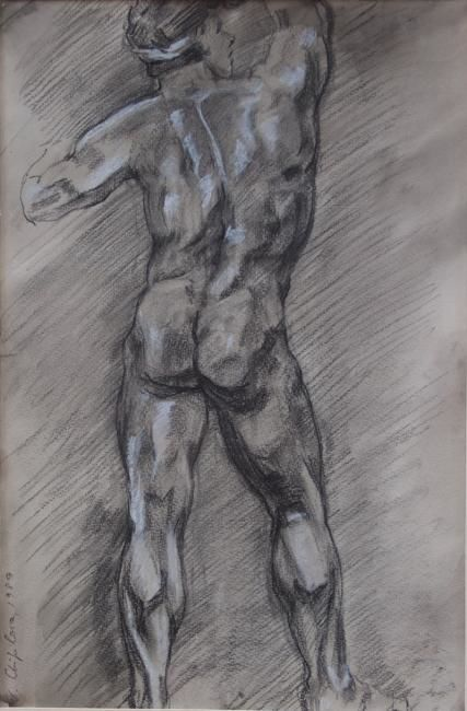 Etude de nu - Drawing,  27.6x15.8 in, ©1988 by Nathalia Chipilova (Atelier NN art store) -                                                                                                              Black and White, etude nu masculin dos male nude homme