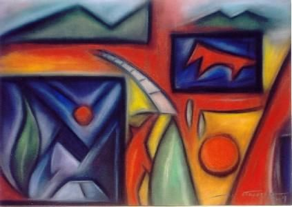 Final Cerimony - Painting,  70x50 cm ©2004 by Luis Athouguia -                            Surrealism, pastel abstract
