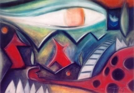 Night Lookings - Painting,  50x70 cm ©2003 by Luis Athouguia -                            Surrealism, pastel abstract