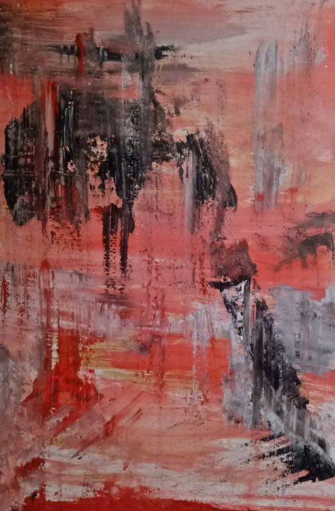 Being in the zone - Painting,  40x28x0.5 in, ©2019 by Atignas Art -                                                                                                                                                                                                                                                                                                                                                              Abstract, abstract-570, Abstract Art, bright, orange, zone, passion