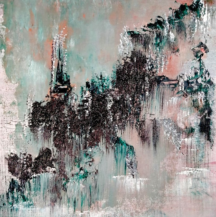 Zen1 - Painting,  20.5x19.7x0.8 in, ©2020 by Atignas Art -                                                                                                                                                                                                                                                                                                                                                                                                                                                      Abstract, abstract-570, Abstract Art, zen, japanese, mountains, reflection, water, earth