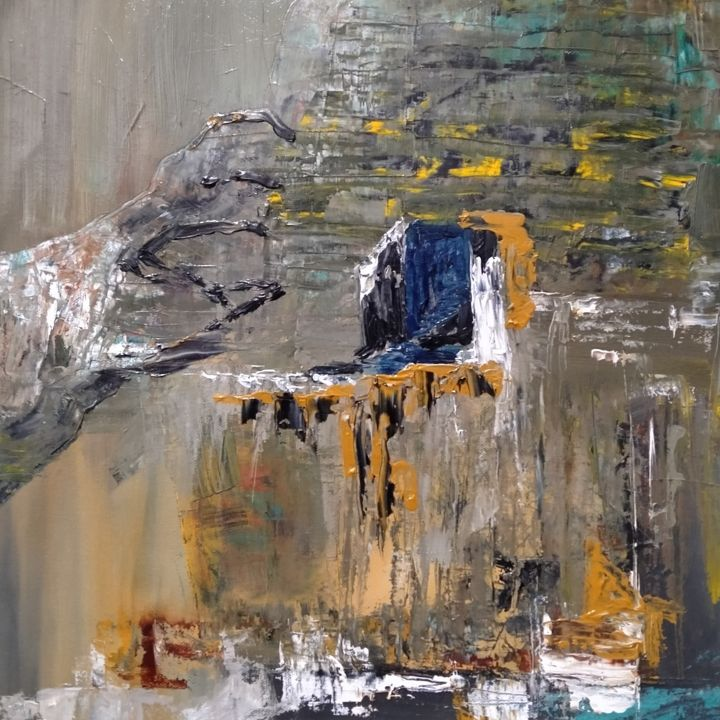 Den - Painting,  15.8x15.8x0.8 in, ©2020 by Atignas Art -                                                                                                                                                                          Abstract, abstract-570, Abstract Art