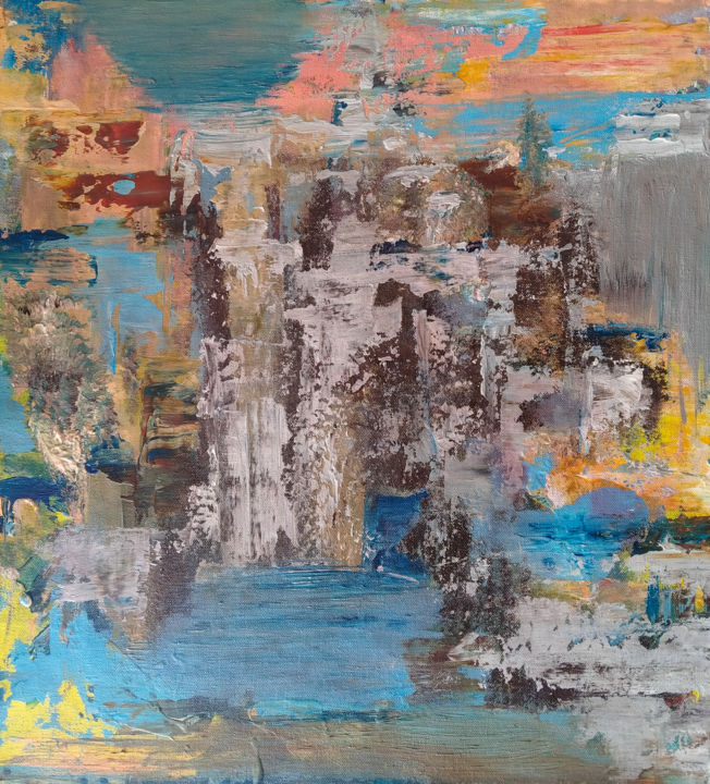 Vista - Painting,  21.3x20.5x0.8 in, ©2021 by Atignas Art -                                                                                                                          Abstract, abstract-570