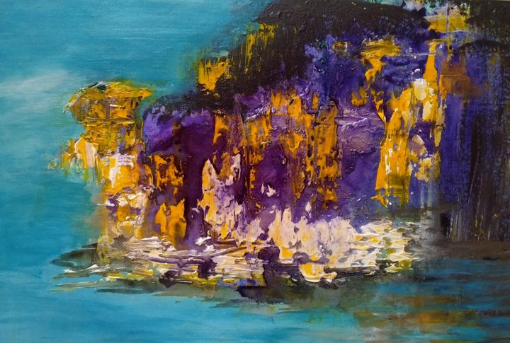 The Sea Spell - Painting,  13.4x20.5x0.4 in, ©2021 by Atignas Art -                                                                                                                          Abstract, abstract-570