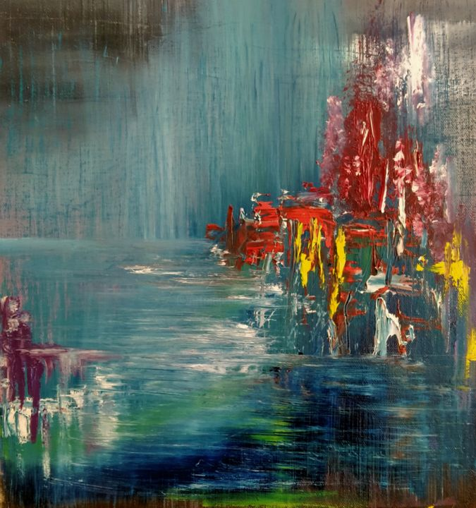 Beach house - Painting,  12.6x12.6x0.4 in, ©2021 by Atignas Art -                                                                                                                          Abstract, abstract-570