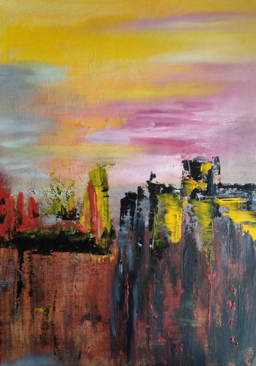 Skyline - Painting,  19.7x15x0.4 in, ©2021 by Atignas Art -                                                                                                                          Abstract, abstract-570
