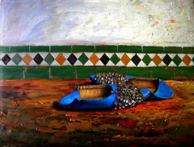 babouche - Painting,  20.5x25.2 in, ©2007 by Atlas Alaoui Hassan -
