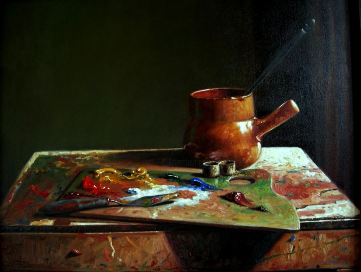 nature morte pa - Painting,  19.7x23.6 in, ©2008 by Atlas Alaoui Hassan -