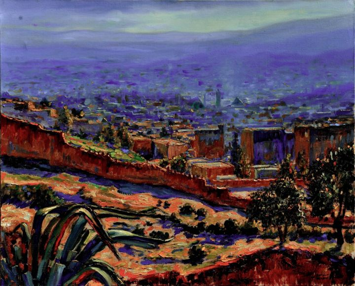 fes - Painting,  19.7x24.4 in, ©2006 by Atlas Alaoui Hassan -