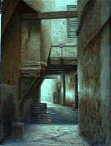 fes ruelle - Painting, ©2006 by Atlas Alaoui Hassan -