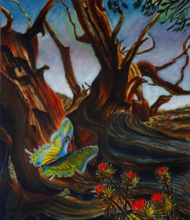 Hope - Painting,  15.8x11.8x0.1 in ©2002 by Jane Attard -                                                                                                        Conceptual Art, Realism, Symbolism, Expressionism, Landscape, Nature, Tree, Desert, Old Trees, Arid, Sand, Small Stones, Butterfly, Thistles, Symbolic, Conceptual, Realism, Fine Art