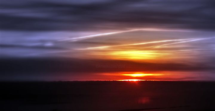 Sunset among the Clouds - Photography ©2019 by Jane Attard -                                                                                                Abstract Expressionism, Minimalism, Other, Aerial, Light, Nature, Colur photograpy, minimalism, sunset, abstract expressionism, strong colours, dark, clouds