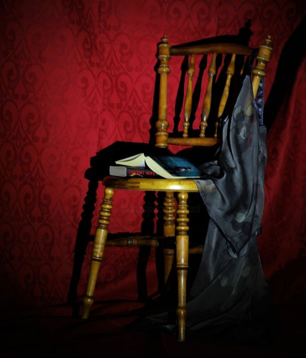 Deserted Chair - Photography ©2018 by Jane Attard -                                                                                                                    Classicism, Conceptual Art, Minimalism, Realism, Colors, Fantasy, Home, Light, Photography, Still life, Conceptual Art, Minimalism, Antique Chair, Curtain, Books, Red, Grey