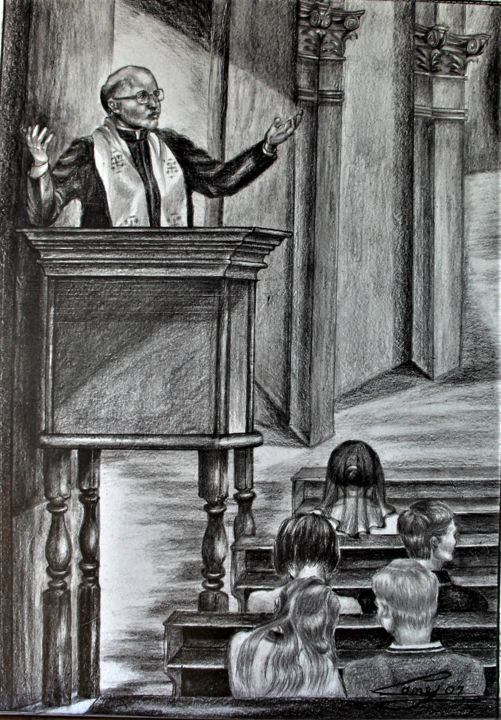 The Sermon - Drawing ©2007 by Jane Attard -                                                                                Classicism, Folk, Illustration, Realism, Religion, Drawing, Illustration, Graphite, Pulpit, Sermon, Priest, Faithful, Benches