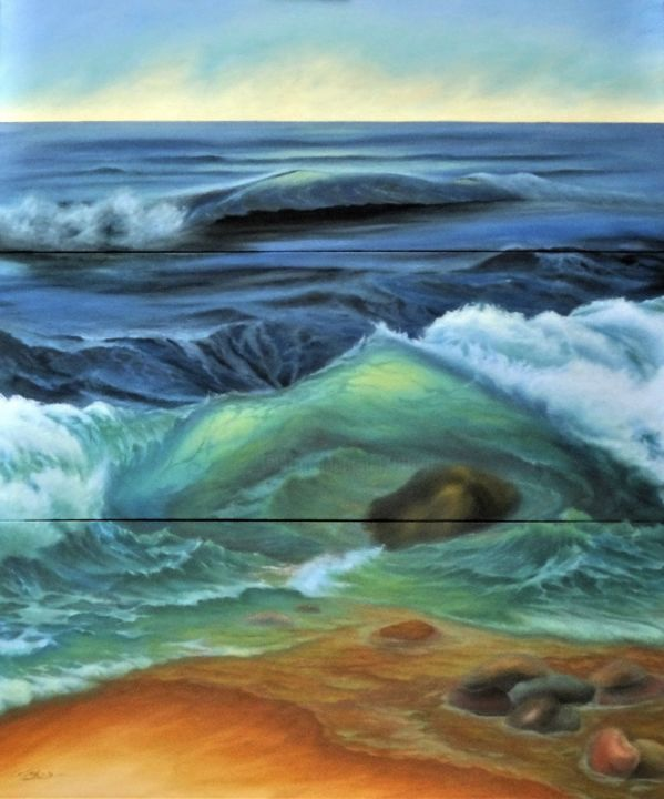 Wave In Symphony - Painting,  59.1x39.4x1.4 in ©2019 by Jane Attard -                                                                                            Expressionism, Realism, Beach, Nature, Seascape, Water, Beach, Wave, Blue, Water, Sand, Stones, Foam, Realism, Expressionism, Triptych