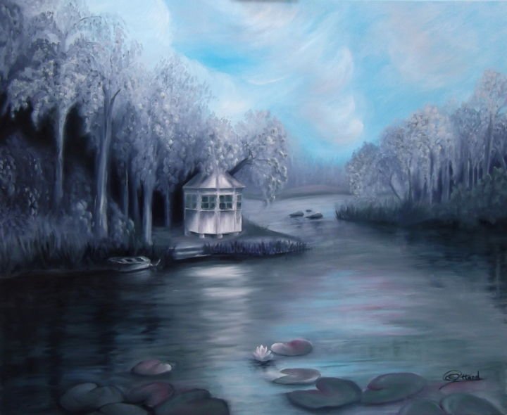 Silver Lake - Painting,  2x70x90 cm ©2013 by Jane Attard -                                                            Realism, Canvas, Landscape, lake, waterlilies, sunhouse, boat, trees, forest
