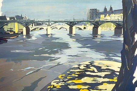 Painting ©1996 by Michelle Auboiron -  Painting, Contemporary, ponts paris seine architecture rivière eau passerelle des arts