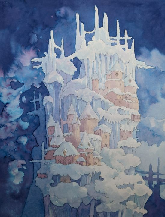 """Drawing titled """"Frozen"""" by Audrey Rouvin, Original Art, Ink"""