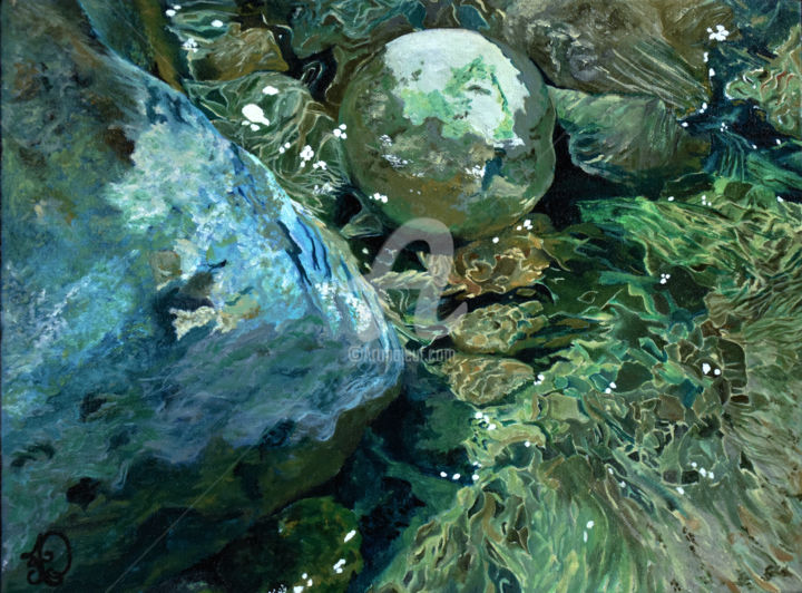 Adventure - Painting,  12x16x1.5 in, ©2018 by Audrey Delaye -                                                                                                                                                                                                                                                                                                                                                                                                                                                                                                                                                                                                                                                                                                                                                                                                                                                                                                                                                                                                                                                  Abstract, abstract-570, Abstract Art, Colors, Water, Garden, Nature, eau, eaux, vert, water, green, river, rivière, rocks, rochers, pierres, bleu, nature, aventure, tableau, art
