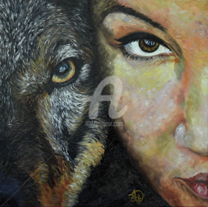 stark - Painting,  15.8x15.8x0.8 in, ©2018 by Audrey Delaye -                                                                                                                                                                                                                                                                                                                                                                                                                                                                                                                                                                                                                                                                                                                                                                                                                                                                                                                                                                                                                                                                                              Expressionism, expressionism-591, Animals, Dark-Fantasy, Dogs, Fantasy, People, wolf, loup, wolves, female, girl, face, portrait, animal, art, peinture, painting, throne, game, Stark, spirit, intelligence