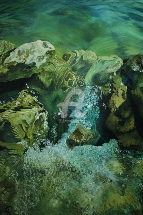 Life - Painting,  36x24x1.5 in, ©2018 by Audrey Delaye -                                                                                                                                                                                                                                                                                                                                                                                                                                                                                                                                                                                                                                                                                                                                                                                                                                                                                                                                                          Figurative, figurative-594, Colors, Landscape, Nature, Outer Space, Patterns, water, eau, rivière, river, pierres, stones, rocks, rocher, vert, beige, green, life, obstacle