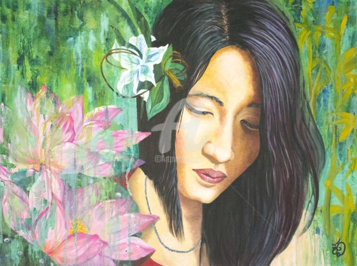 Homesickness - Painting,  18x24 in, ©2017 by Audrey Delaye -                                                                                                                                                                                                                                                                                                                                                                                                                                                                                                                                                                                                                                                                                                                                                                                                                                                                                                                                                                                                                                                  Illustration, illustration-600, Asia, Botanic, Colors, Family, Flower, flowers, fleurs, bambou, bamboo, China, Chinese, Chine, girl, femme, woman, lotus, drips, water, sadness, homesickness