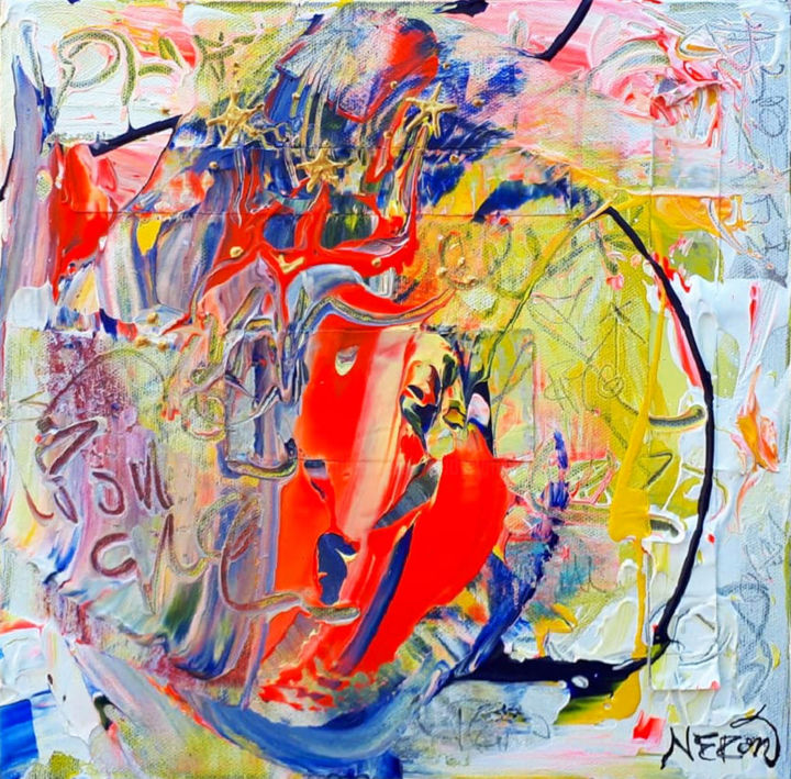 RED DEVIL - Painting,  30.5x30.5x4.1 cm ©2019 by Audrey NÉRON -                                                                                                                                Abstract Art, Abstract Expressionism, Contemporary painting, Street Art (Urban Art), Abstract Art, Colors, Pop Culture / celebrity, Fantasy, Spirituality, Art abstrait, Expressionnisme, Expressionnisme abstrait, Peinture contemporaine, Contemporary, Comtemporary art, Urban art, Art urbain, Graffiti, Graffity