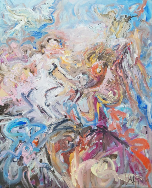 """Painting titled """"Venus and Time"""" by Audrey Néron, Original Art, Oil Mounted on Stretcher frame"""