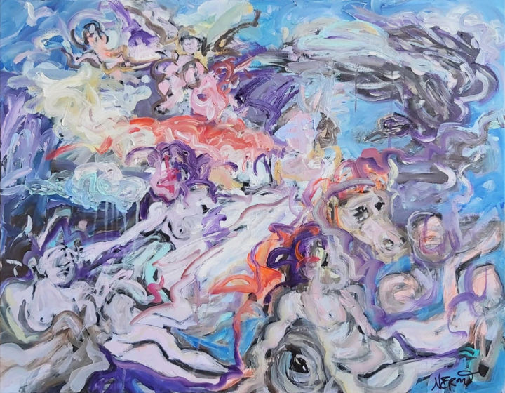 """Painting titled """"The Abduction of Eu…"""" by Audrey Néron, Original Art, Oil"""