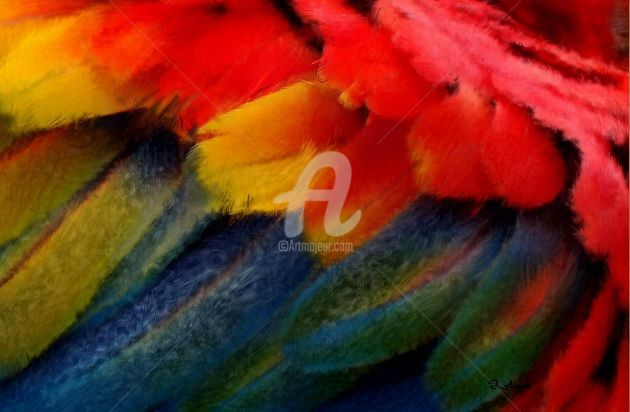 """Digital Arts titled """"Macaw Plume"""" by August, Original Art,"""