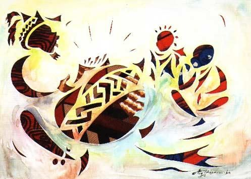 """Painting titled """"Le Griot conteur"""" by Augustin Tshipamba Mputu, Original Art,"""