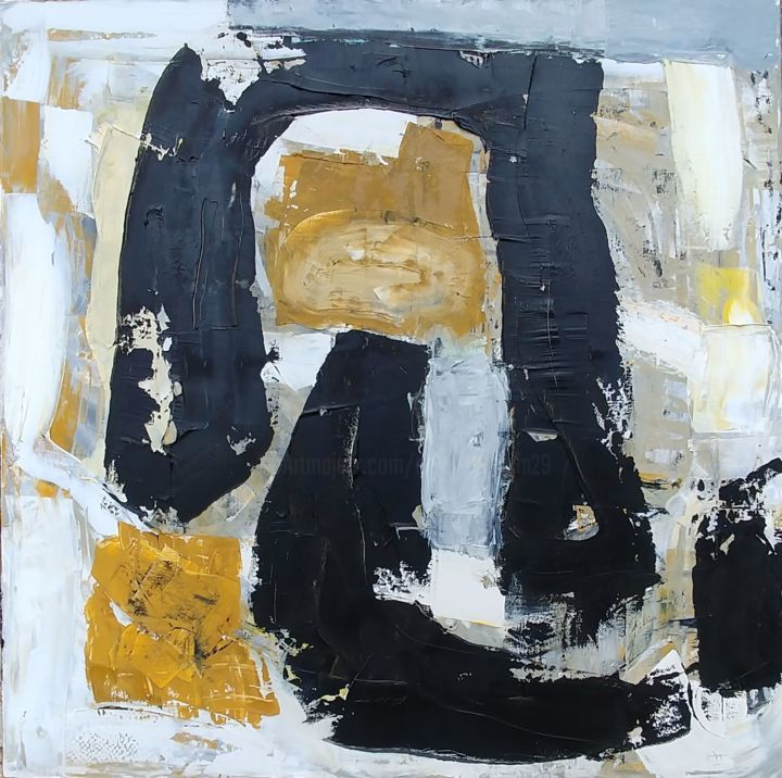 grande-composition-ocre-et-noir.jpg - Painting,  35.4x35.4 in, ©2019 by Aurélie Jeannin -                                                                                                                                                                          Abstract, abstract-570, Abstract Art