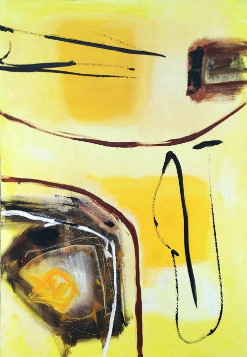 """Espace-Ligne """"Grand Jaune"""" - Painting,  45.7x31.9 in ©2019 by Aurélie Jeannin -                                        Abstract Art, Abstract Art"""